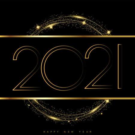 2021 New Year card with golden and glittering text. Vector.