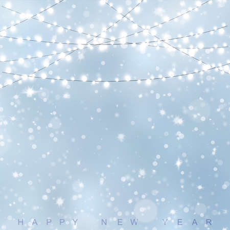 Happy New Year or Christmas card with snow blue sky. Vector. Archivio Fotografico