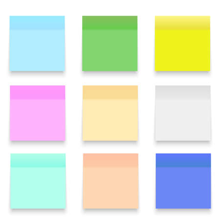Set of Office paper sheets or stickers. Vector