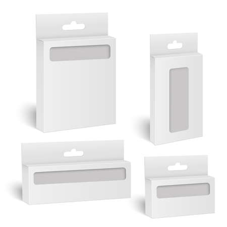 White product mock up package box with window. Vector