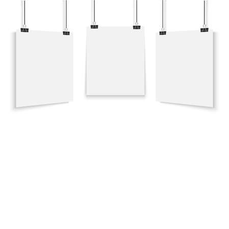 White poster hanging with binder. Vector