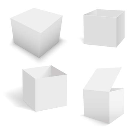 Set of white square boxes templates. Vector Vettoriali