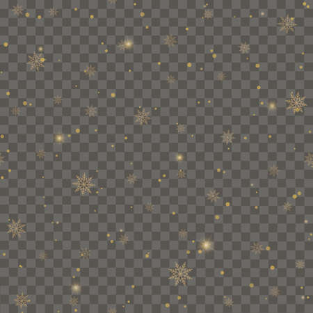 Seamless pattern with golden snowflakes on transparent background. Vector