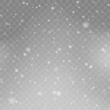 Xmas background with falling snowflakes on transparency. Vector.