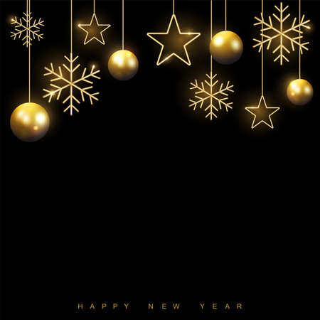Happy New Year or Xmas card with golden ornaments on black background. Vector