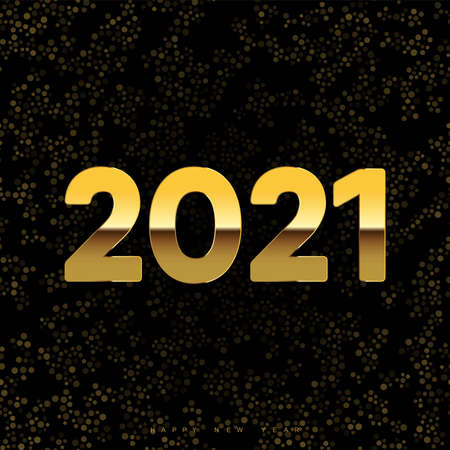 2021 New Year card with golden text on confetti black background. Vector