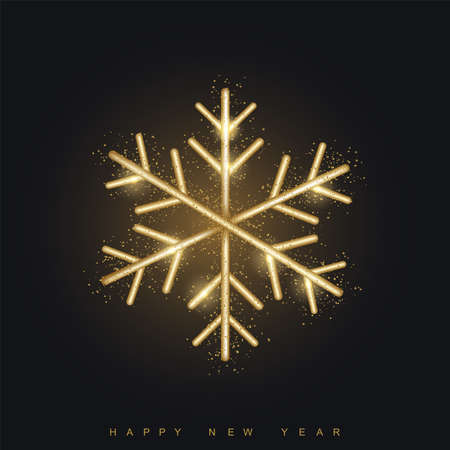 Happy New Year or Xmas card with golden snowflake on black background. Vector