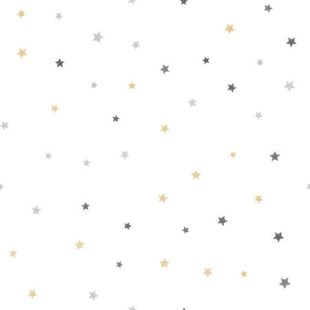 Seamless pattern with golden stars on white background. Vector. Vettoriali