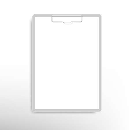 Realistic clipboard folder with blank white sheet of paper. Vector Vettoriali