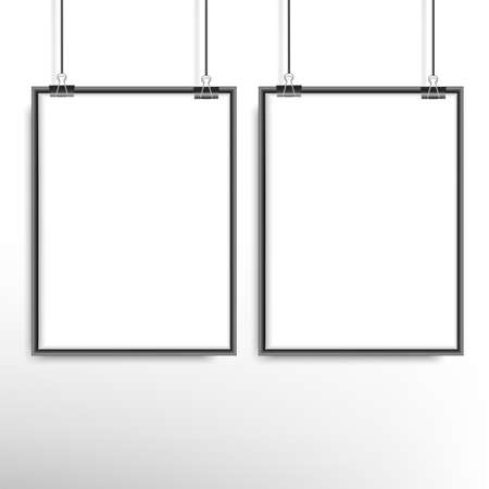 Two blank frames hang on clips near the wall. Vector.