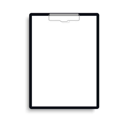 Realistic clipboard folder with blank white sheet of paper. Vector
