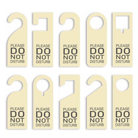 Do not disturb door hanger set. Vector illustration.