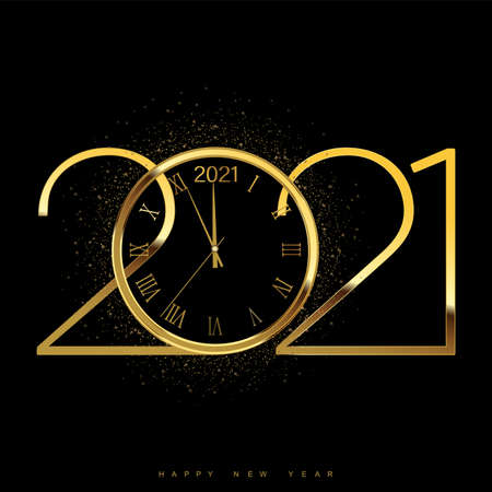 Happy new 2021 year with shiny gold watch. Vector. Vettoriali