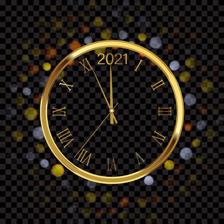 Happy New Year 2021 with golden shiny watch. Vector.