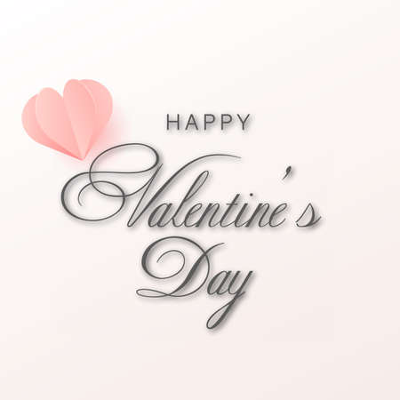 Valentine s day card with pink paper hearts. Vector