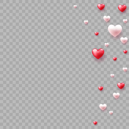 Red balloon heart falling on transparent background. Vector illustration