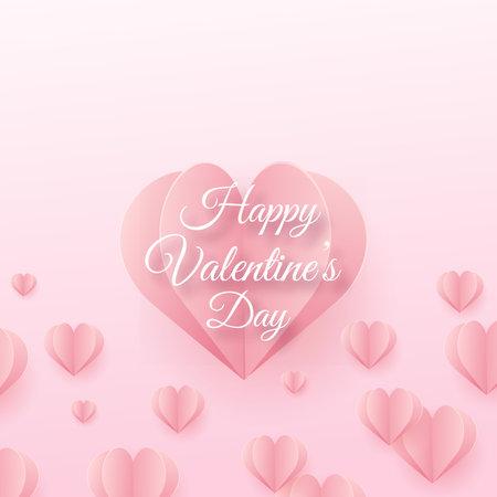Happy Valentine s card with flying pink paper hearts. Vector Illusztráció
