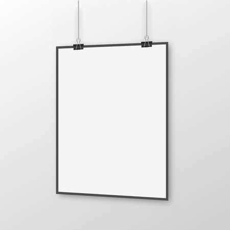 White poster hanging with binder on white background. Perspective view. Vector.