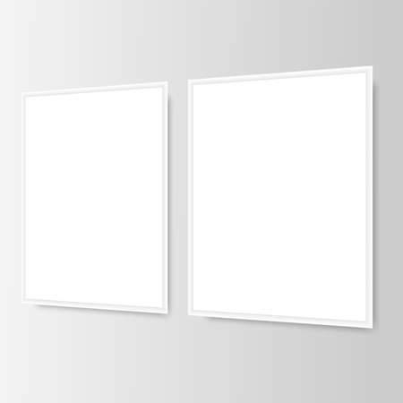 Two white picture frames on the wall. Vector.