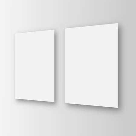 Two sheets white blank template on the wall. Perspective view. Vector.