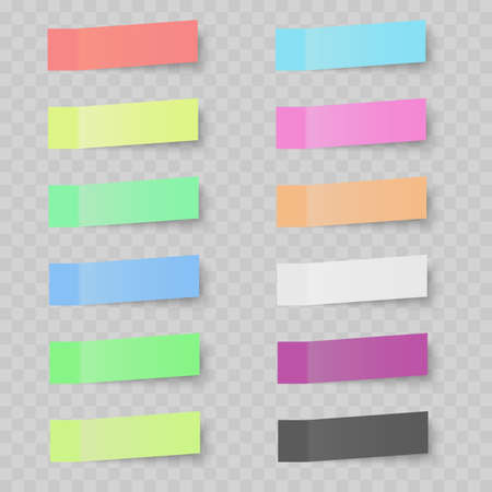 Set of colorful sticky notes on transparent background. Vector.