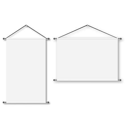 Blank realistic portable projection screen. Vector. Stock Illustratie