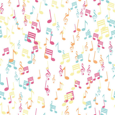 Seamless pattern with colorful music note. Vector.