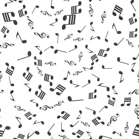 Seamless pattern with black music notes on white background. Vector.