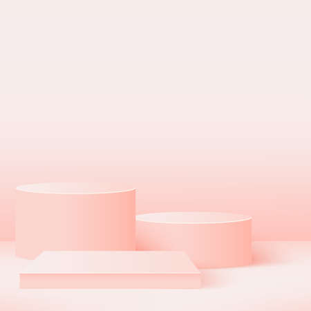 Abstract background with pink geometric 3d podiums. Vector illustration Stockfoto