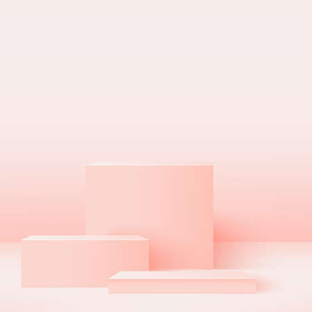 Abstract background with pink geometric 3d podiums. Vector illustration Stock Illustratie