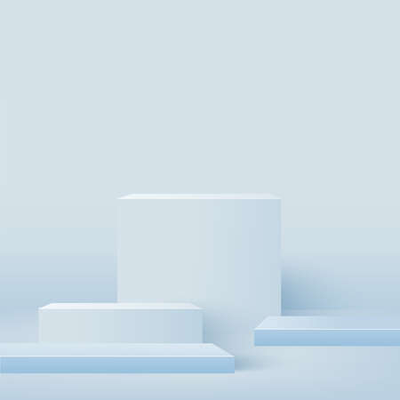 Abstract background with blue square geometric 3d podiums. Vector illustration