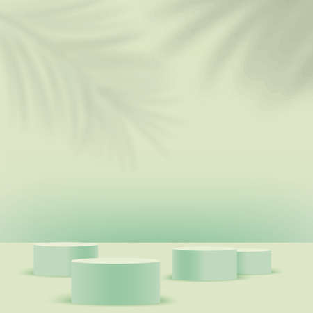 Abstract background with green geometric 3d podiums. Vector illustration Stock Illustratie