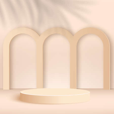 Abstract background with cream color geometric 3d podiums. Vector illustration. Stock Illustratie