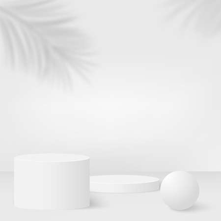 Abstract background with white color geometric 3d podiums. Vector illustration