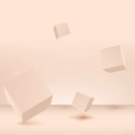Abstract background with cream color geometric 3d podiums. Vector illustration