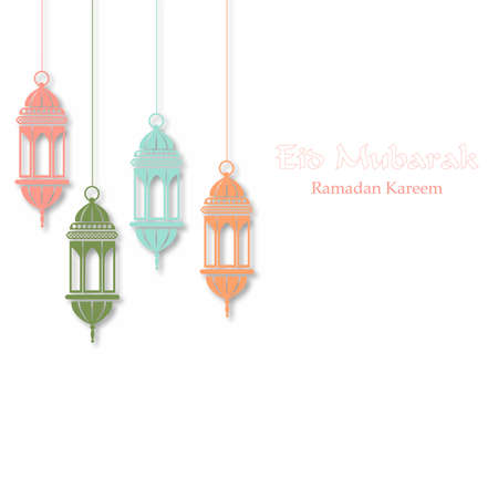 Ramadan greeting card with a mosque. Vector.  イラスト・ベクター素材