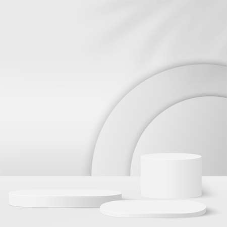 Abstract background with white color geometric 3d podiums. Vector illustration.
