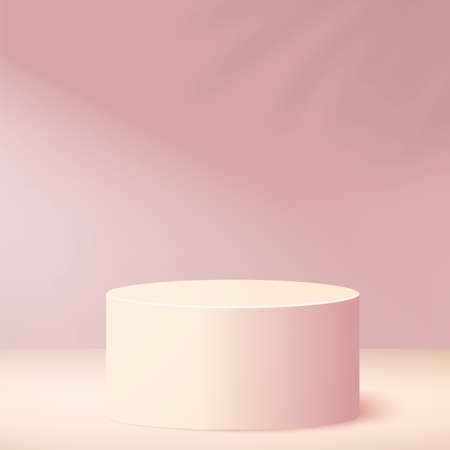 Abstract background with pink color geometric 3d podiums. Vector illustration