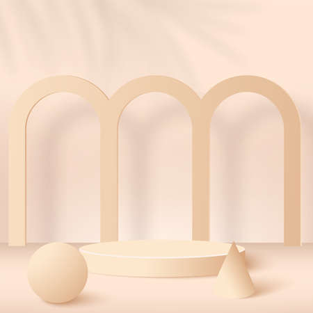 Abstract background with cream color geometric 3d podiums. Vector illustration.  イラスト・ベクター素材