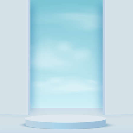 Abstract background with blue color geometric 3d sky podiums. Vector illustration.