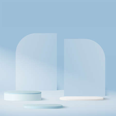 Abstract background with blue color geometric 3d podiums. Vector illustration