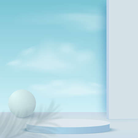 Abstract background with blue color geometric 3d sky podiums. Vector illustration