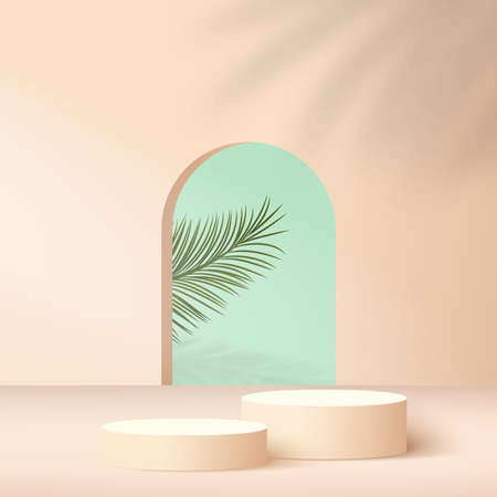 Abstract background with cream color geometric 3d podiums. Vector illustration. 스톡 콘텐츠