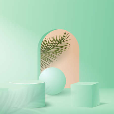 Abstract background with green color geometric 3d podiums. Vector illustration.