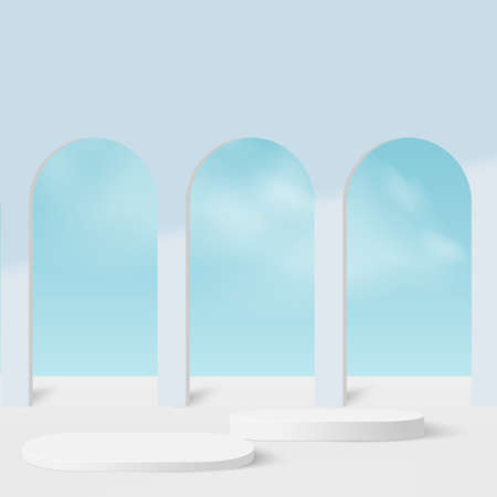 Abstract background with blue sky color geometric 3d podiums. Vector illustration.