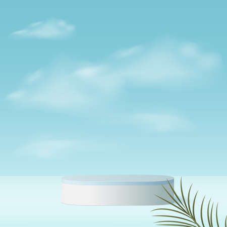 Abstract background with blue color geometric 3d sky podiums. Vector.