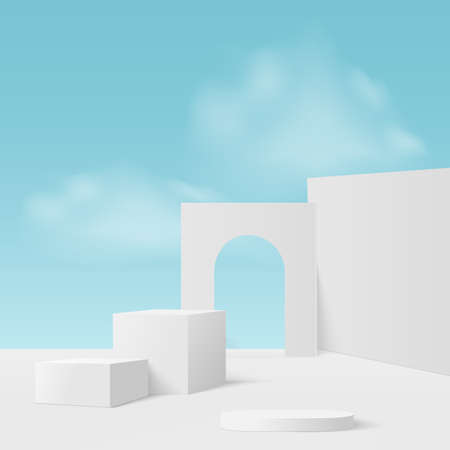 Abstract background with white blue sky geometric 3d podiums. Vector illustration.