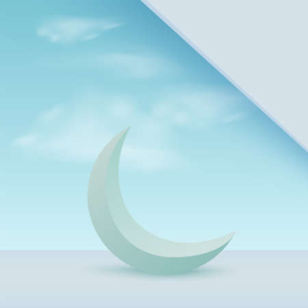 Ramadan kareem with blue 3d crescent moon. Vector.