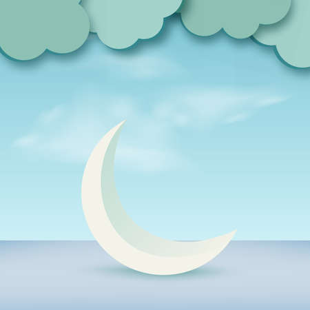 Ramadan kareem with blue 3d crescent moon. Vector.