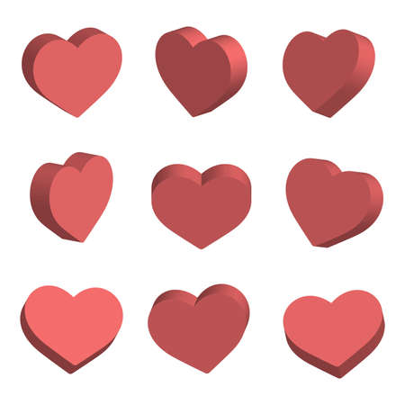 Red isometric hearts icon set, love symbol. Vector.